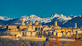The city of Bergamo with high