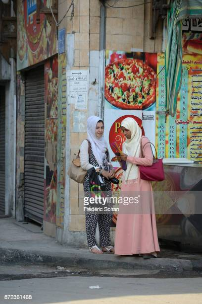 The city of Cairo Daily life and view of the Old Cairo young girls in old town on September 20 2015 in Cairo Egypt