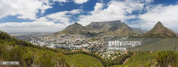 The City of Cape Town with Table Mountain and Lions Head on a Clear Day, Cape Town, Western Cape Province, South Africa