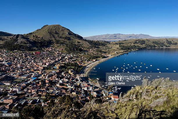 The city of Copacabana sits by Lake Titicaca the highest navigable lake in the world with a surface elevation of 12507 ft