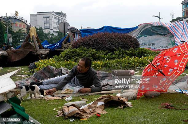 The city of Dujiangyan affected by a 79 magnitude earthquake is the most important city close to the epicentre Inhabitants who lost their homes camp...