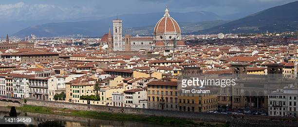 The City of Florence Il Duomo di Firenze Cathedral of Florence and the River Arno Tuscany Italy