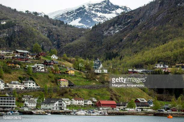 The city of Geiranger, the forest and the snowy mountain as seen from the sea