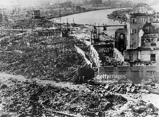 The city of Hiroshima in ruins a few days after the explosion of the atom bomb in August 1945 On the right the Agriculture showroom and in the...