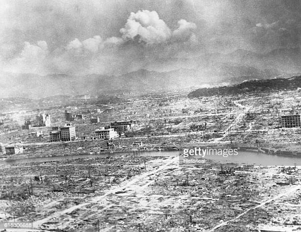 The city of Hiroshima Japan as it looked after an atomic bomb was dropped on it on August 6 1945 The devastation from the blast site to 04 miles...