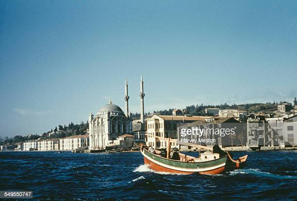 The city of Istanbul as seen from the Bosphorus strait Turkey circa 1960