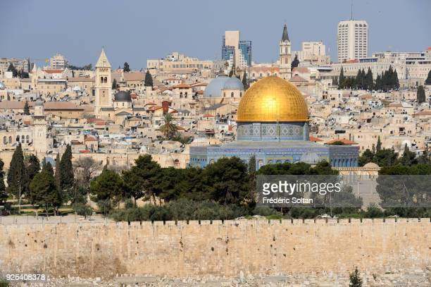 The city of Jerusalem View of Jerusalem and the Dome of the Rock from the Mount of Olives in the Old City of Jerusalem on May 20 2014 in Jerusalem...