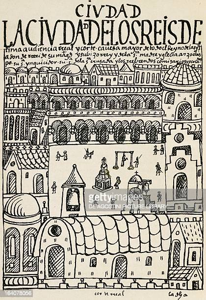 The City of Kings now Lima founded in January Peru engraving from The first new chronicle and good government by Felipe Guaman Poma de Ayala South...
