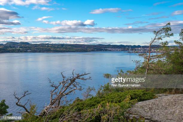 the city of larvik in vestfold norway. view from the fjord - finn bjurvoll stock pictures, royalty-free photos & images