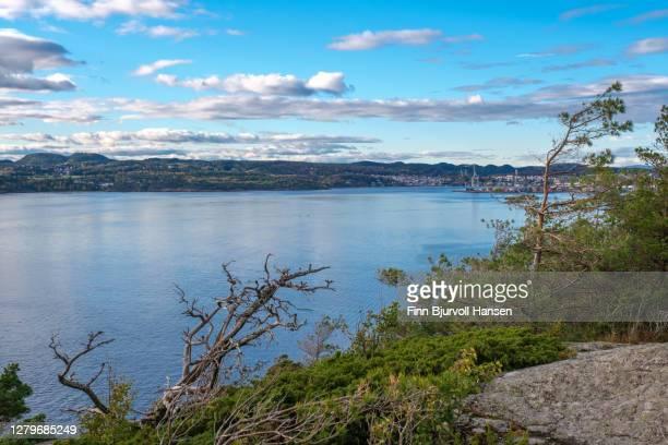 the city of larvik in vestfold norway. view from the fjord - finn bjurvoll stock-fotos und bilder