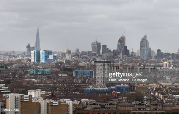 The City of London as viewed from Arcelor Mittal Orbit as construction work goes on as part of the building work progress at the Queen Elizabeth...