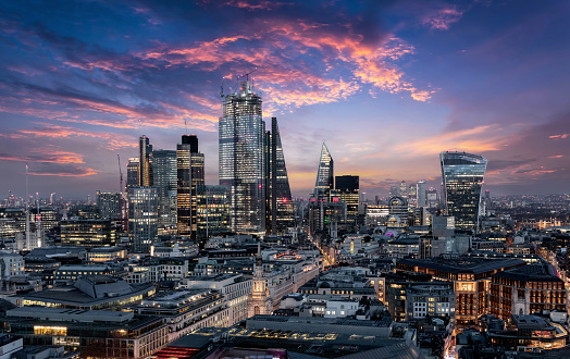 The City of London just after sunset, United Kingdom 1164005273