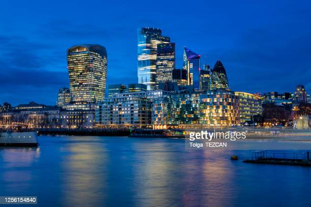 the city of london just after sunset, united kingdom - london stock pictures, royalty-free photos & images