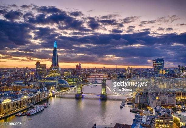 The city of London pictured under coronavirus lockdown. The Shard can be seen here turning blue for the NHS. Incredibly unusual, there is barely any...