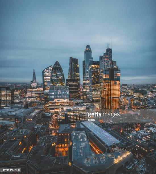 the city of london skyline at night, united kingdom - international landmark stock pictures, royalty-free photos & images