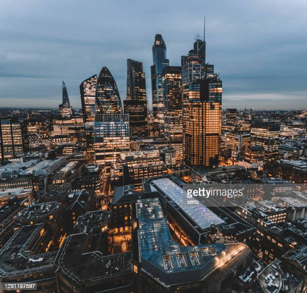 the city of london skyline at night, united kingdom - building exterior stock pictures, royalty-free photos & images