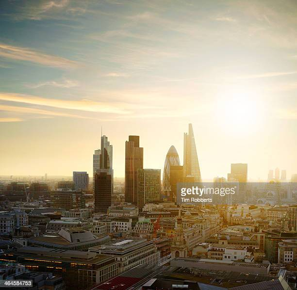 The City of London with sun.