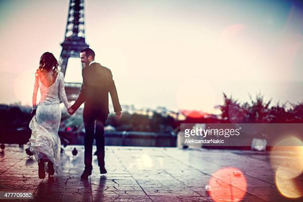 the city of love - look back at early colour photography stock photos and pictures