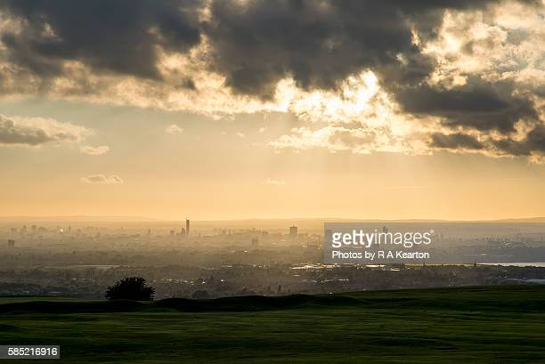 The city of Manchester seen from a distant hilltop