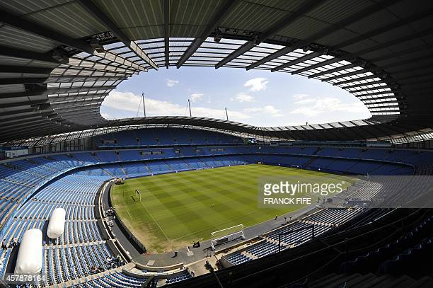 The City of Manchester Stadium is pictured in Greater Manchester on May 13 as Scottish football team Glasgow Rangers prepare to challenge Russian...