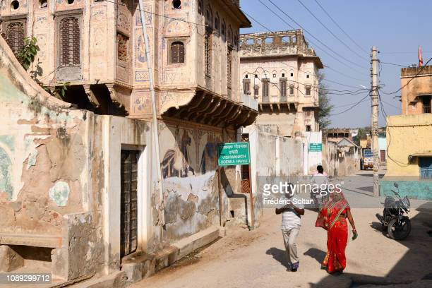 The city of Mandawa in Shekhawati area located in North Rajasthan In 19th centuries Marwari merchants constructed these grand havelis richly...