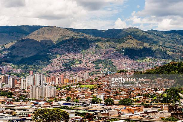 The city of Medellin is seen from Cerro Nutibara prior to FIFA Futsal World Cup Colombia 2016 on September 8 2016 in Medellin Colombia