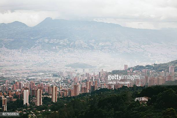 The city of Medellin seen from the surrounding hills.