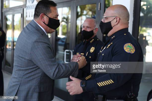 The City of Miami's new Police Chief Art Acevedo greets officers after his introduction at City Hall on March 15, 2021 in Miami, Florida. Acevedo is...