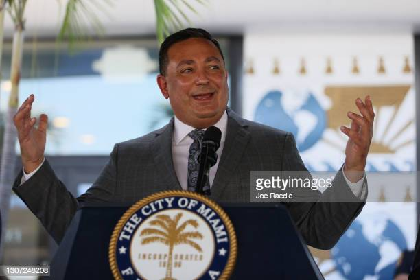 The City of Miami's new Police Chief Art Acevedo speaks to the media during his introduction at City Hall on March 15, 2021 in Miami, Florida....