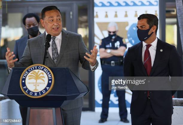 The City of Miami's new Police Chief Art Acevedo speaks to the media accompanied by Mayor Francis Suarez during his introduction at City Hall on...