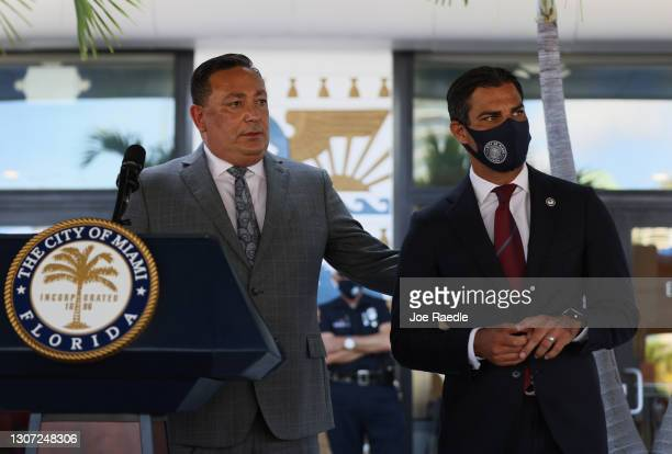 The City of Miami's new Police Chief Art Acevedo stands with Mayor Francis Suarez during his introduction at City Hall on March 15, 2021 in Miami,...