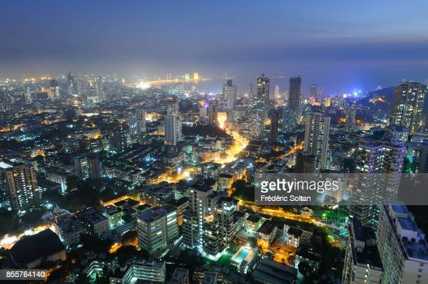 The city of Mumbai Aerial view of Mumbai by night on April 17 2010 in Mumbai India