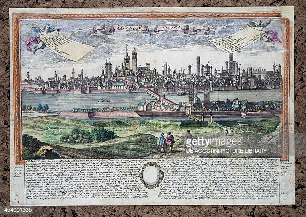 The city of Pavia and the Ticino River, ca 1740, engraving by Leopold from a drawing by Friedrich Bernhard Werner. 18th century.