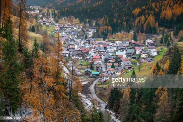 The city of Rocca Pietore italian Dolomites Belluno Province with the Serrai di Sottoguda destroyed and torn by bad weather on 7 November 2018
