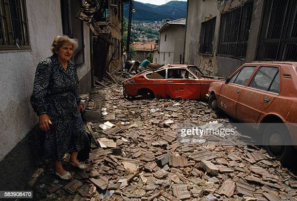The city of Sarajevo damaged after bombings as the civil war goes on in Yugoslavia.