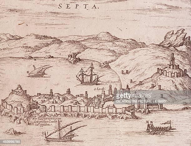 The city of Septa during the early 1600s engraving Morocco 17th century Lisbon Museu De Marinha