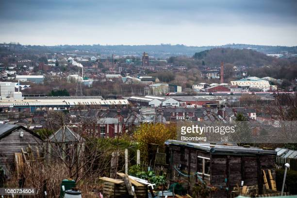 The city of StokeonTrent stands beyond allotment plots on the outskirts of StokeonTrent UK on Monday Jan 7 2019 Stoke 135 miles north of the Palace...