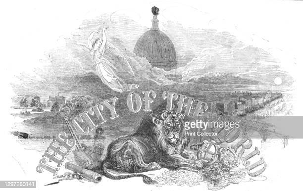 The City of the World!, 1844. The British lion with its paws on bags of money, against a backdrop of the River Thames and St Paul's Cathedral....
