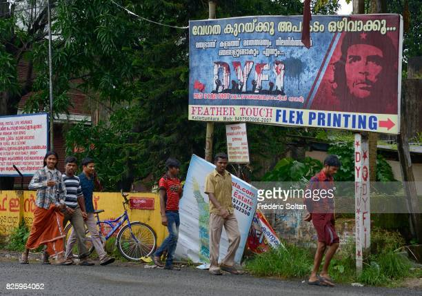 The city of Thrissur in the state of Kerala Poster of the Democratic Youth Federation of India on July 19 2016 in India