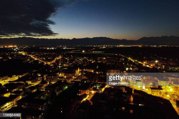 the city of turin seen during sunset with the alps mountains behind be - puletto diego stock pictures, royalty-free photos & images