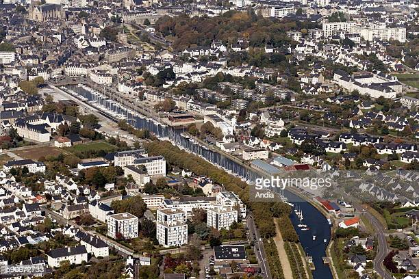 """The city of Vannes, Morbihan department : aerial view of the harbour in Vannes, the quays and """"Place Gambetta"""" square"""