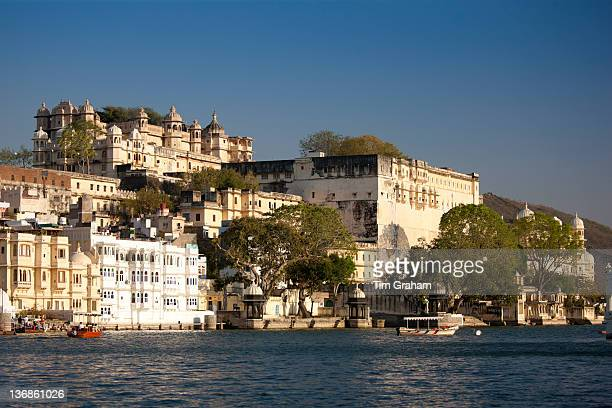 The City Palace Complex and Shiv Niwas Palace Hotel owned by 76th Maharana of Mewar His Highness Shreeji Arvind Singh Mewar of Udaipur Rajasthan India