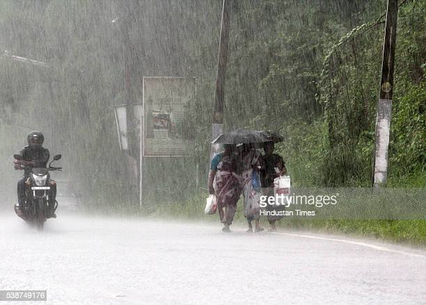 The city recived heavy showers as the first winds of southwest monsoon hits Kerala on June 7 2016 in Thiruvananthapuram India The news arrival of...
