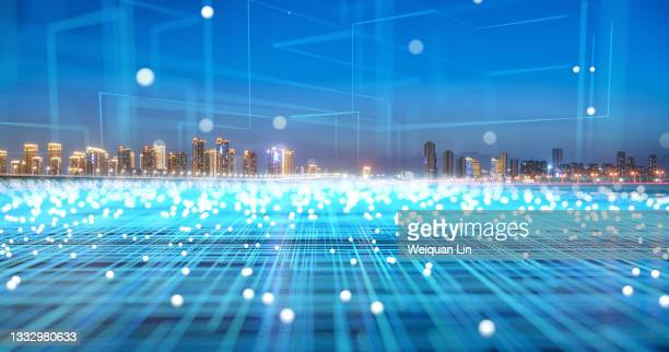 the city scenery of xiamen, fujian and the concept of big data - fujian province stock pictures, royalty-free photos & images