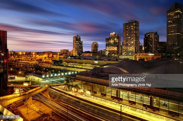 The City Skyline And Southern Cross Railway Station in Melbourne, Victoria, Australia