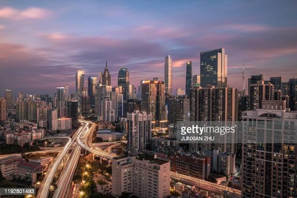 the city skyline in guangzhou,china - guangzhou stock-fotos und bilder