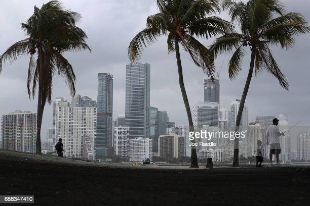 The city skyline is seen as the National Hurricane Center releases its prediction that the 2017 hurricane season will be aboveaverage on May 25 2017...