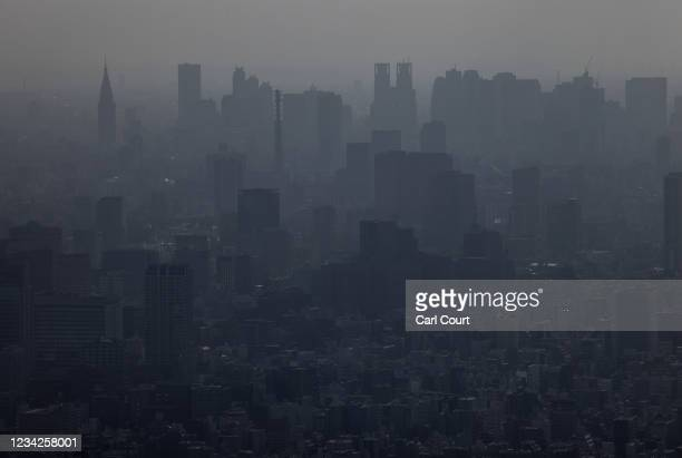 The city skyline is seen from the Tokyo Skytree on July 28, 2021 in Tokyo, Japan. Tokyo metropolitan government reported 3,177 new coronavirus cases...