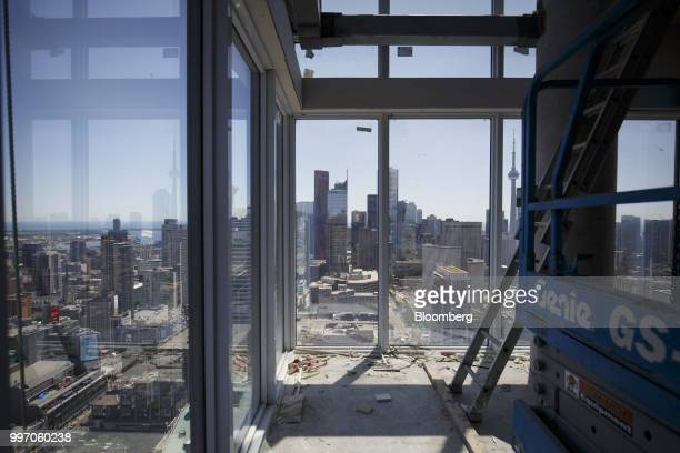 The city skyline is seen from unit during construction of the GWL Realty Advisors Livmore luxury apartment building in Toronto Ontario Canada on...