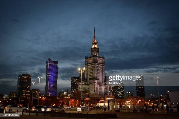 The city skyline is seen in Warsaw Poland on April 4 2018
